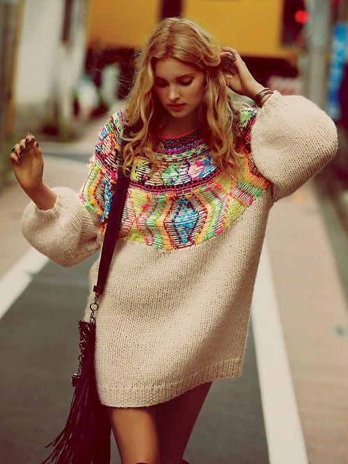 Colorful Chic oversized sweater dress - fashion spring 2014 inspiration #karinarussianpowpow #bohemian #boho
