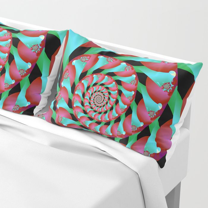 Archimedes' Magenta & Teal Tangent by Terrella.  A pattern of spirals reminiscent of Archimedes' Screw, almost intertwining spirals, of magenta and teal with accents of cyan, pink and green.