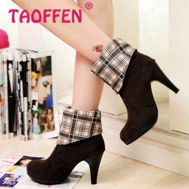 Mulheres de salto alto metade curto tornozelo botas de inverno martin botas de neve calçados de moda saltos quentes sapatos de inicialização P1986 tamanho 34 - 39 alishoppbrasil