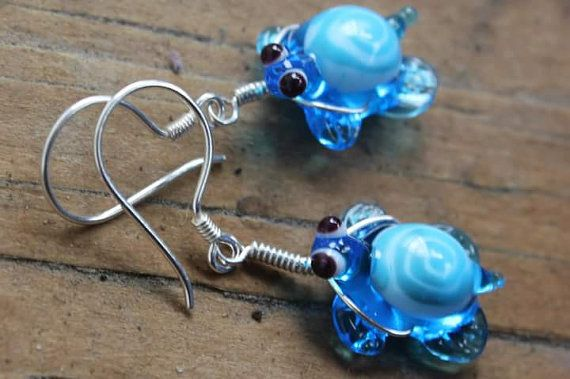 Turtle Earrings, Turquoise Turtle Earring, Lampwork Bead Turtle, Lampwork Turtles, Glass Turtle, Artisan Glass Jewelry, Blue Turtle, Beads