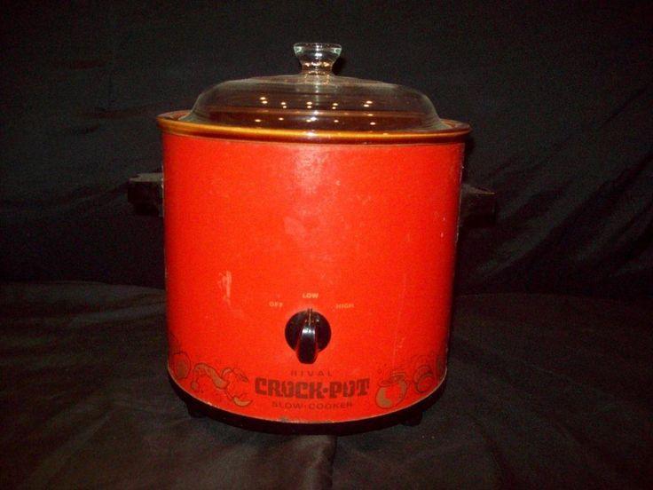 Vintage Orange Red Rival Crockpot Slow-Cooker glass lid Model 3100/2  3.5 Quart #Rival