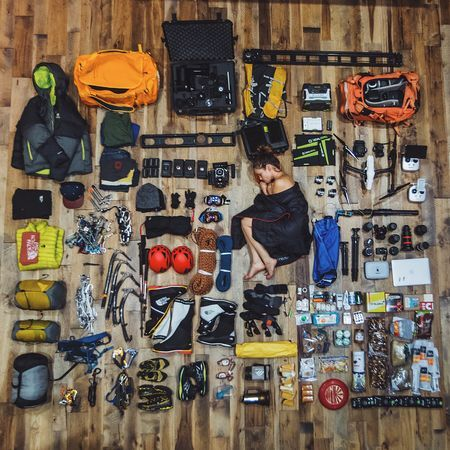 Picture of Renan Ozturk's camera and climbing gear for a Mount Everest expedition.