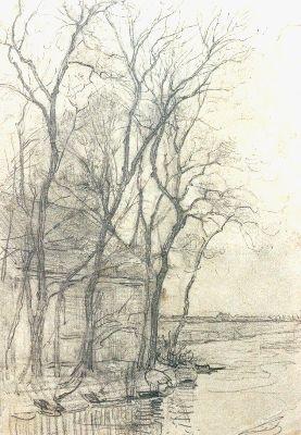 Mondriaan P.C.  Boerderij bij Duivendrecht; detailstudie van de schuur, potlood op papier 16,6 x 11,7 cm