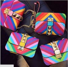 Rainbow color brand handbags -2015 Women shoulder bags women handbag Women messenger Bags Leather Mini Party bag -free shipping