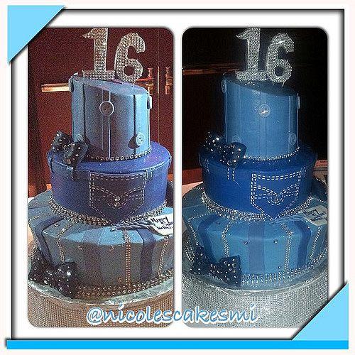 Denim and diamonds sweet 16 cake. Buttercream with fondant… | Flickr