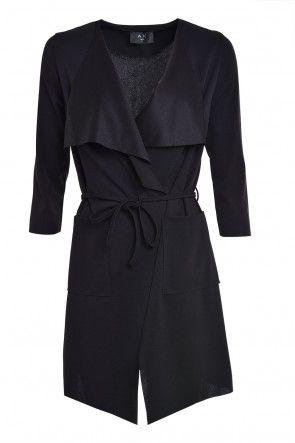 Susie Lightweight Tie Belt Jacket in Black