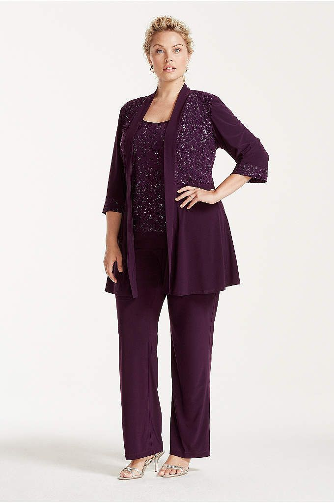 54fe0631df1e Plus Size Glitter Print Jacket and Pants Set - Comfortable meets  sophisticated in this plus-size pant suit