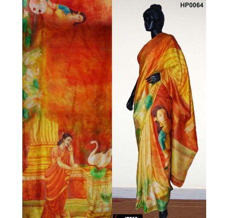 Raja Ravi Varma hand painted on pure silk saree