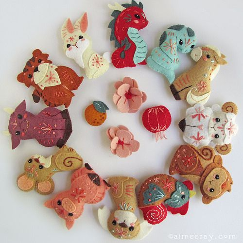 chinese zodiac mini felt animals sewing pattern PDF - Aimee Ray www.littledear.etsy.com