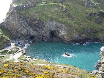 "King Arthur's castle cove. Water was so cold but so pretty...""Tintagel Castle"""