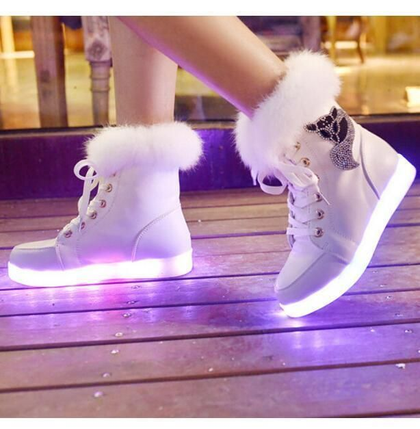 Women S Lace Up 8 Colors Led Light Usb Fur High Upper Thick Sneakers Shoes   – Mode