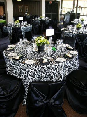 Damask Tablecloths And The Pop Of The Lime Green Centerpieces