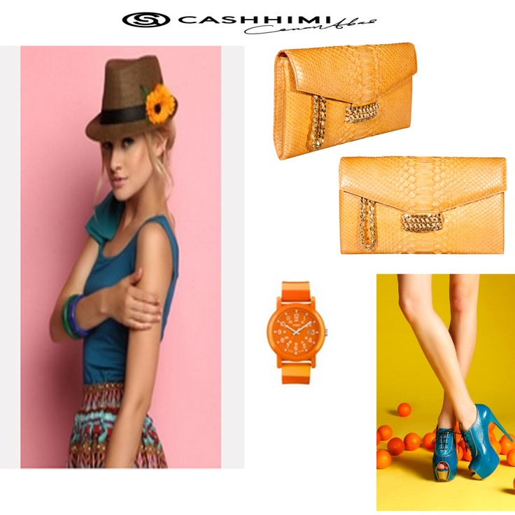 Cashhimi Yellow BEVERLY Python Clutch