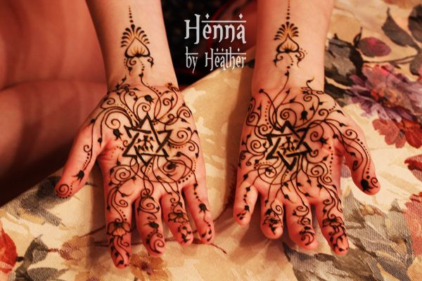 a jewish bridal henna design with the star of david and swirly delicate detail on the palms. Black Bedroom Furniture Sets. Home Design Ideas
