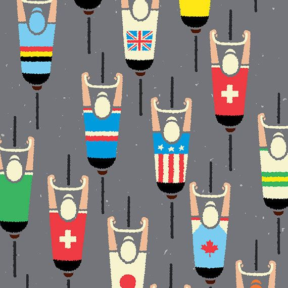 Cycling Art Print World Road Race Championship Cyclists by gumo,