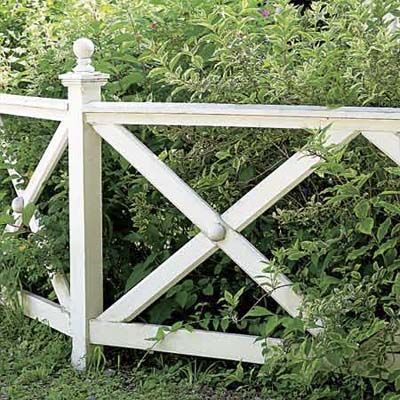 A series of X's fills the gap between the top and bottom rails. A ball-shaped detail on the post cap and where the crosspieces intersect adds a touch of formality.     Similar to shown: 4-foot-tall fence in stained white cedar, about $38 per linear foot for uninstalled panels; Elyria Fence Inc.