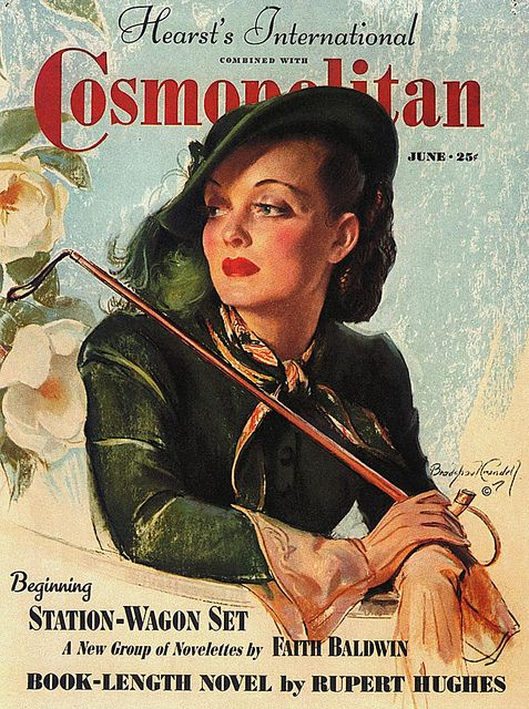 """Cosmopolitan magazine, Illustrated by Bradshaw Crandell, June 1938 - """"The June 1938 cover of Cosmopolitan was an idealized representation of one of Hollywood's most recognizable stars, Bette Davis."""" ~ Kent Steine"""