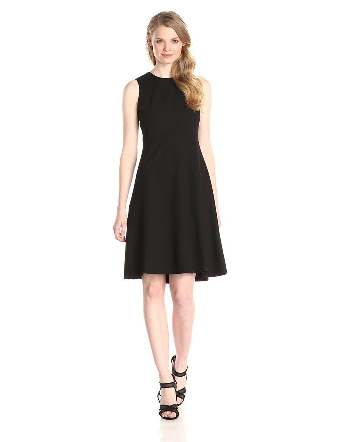Anne Klein Women's Sleeveless Fit and Flare Dress, Black, 6 at Amazon Women's Clothing store: