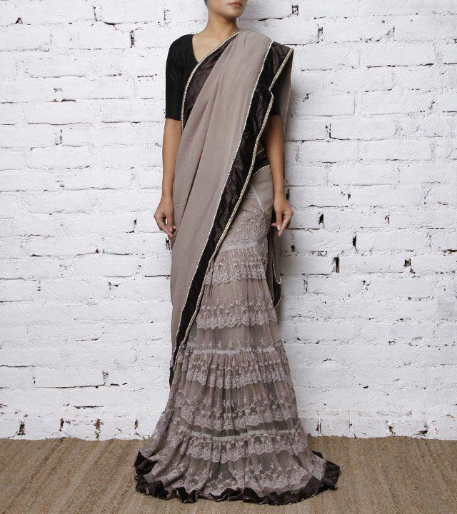 indian roots gray sarees   Grey Georgette Lehenga Saree