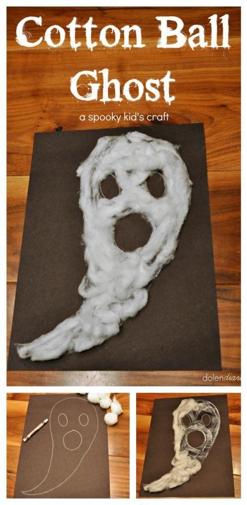 Cotton Ball Ghost Halloween Kid's Craft {Dolen Diaries for 733 Blog} Pourquoi pas avec colle et crème à barbe!!!