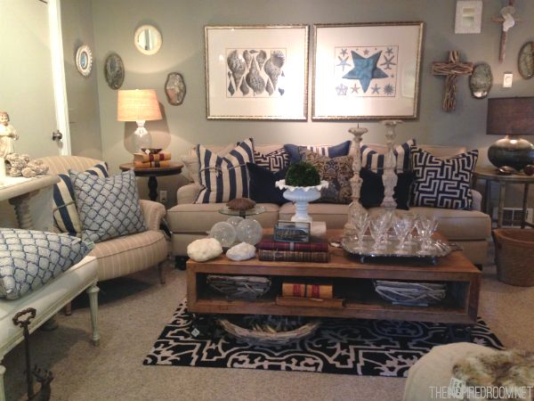 Blue and white pillows on a tan couch - just what ours is going to look like!