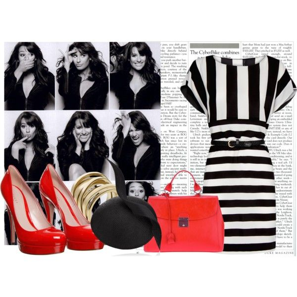 striped look black and red by xokolat on Polyvore