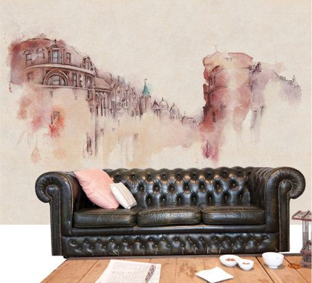 """Custom Size 55"""" x 35"""" Watercolor Sketch Architecture Wallpaper Vintage Retro Street Scene Wall Mural Large Print Temporary Wall Decal Ivory"""