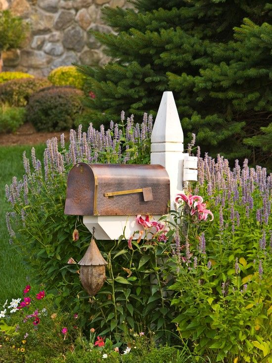 Home Accessories, Traditional Landscape With Vintage Metal Mailbox Designs Also White Wooden Pillar And Beautiful Graden Plants And Flowers:...