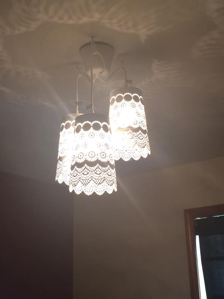 IKEA Hack. Was looking for a chandelier for my daughters room. IKEA discontinued the one I wanted. So I made my own out of SKURAR candle holders (the large ones. They have different sizes) and electrical hanging lights from Ikea.  They turned out great! Savings of about $90.00.  Total cost for this was $40.