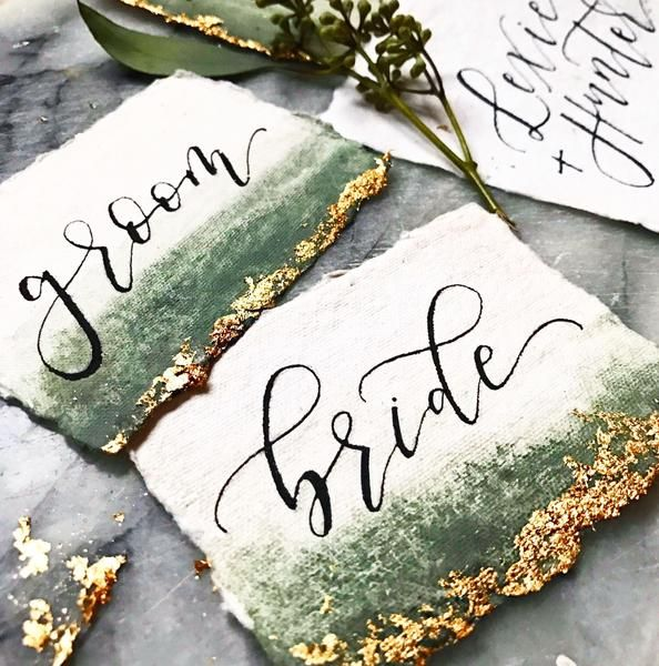 Watercolor Place Cards / Escort Cards with Gold Leaf Details