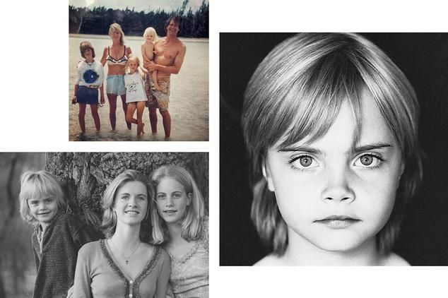 <strong>THE EARLY YEARS</strong> | Clockwise from top left: Cara with her parents, Pandora and Charles Delevingne, and sisters; Cara as a child; with older sisters Chloe (center) and Poppy.