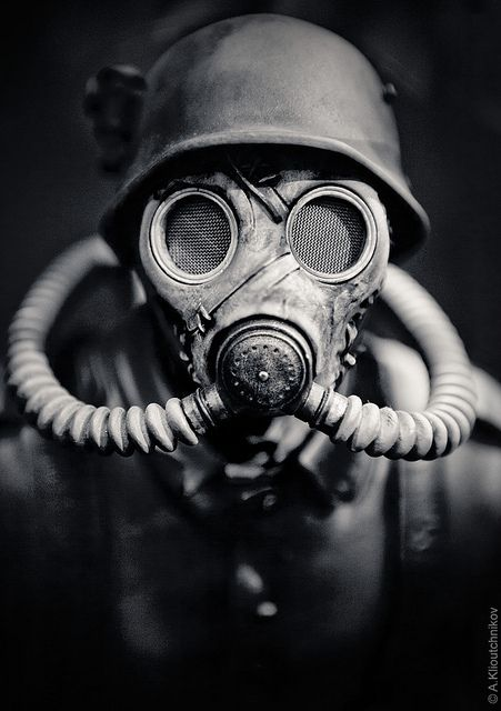 WWII German Soldier in A Gas Mask