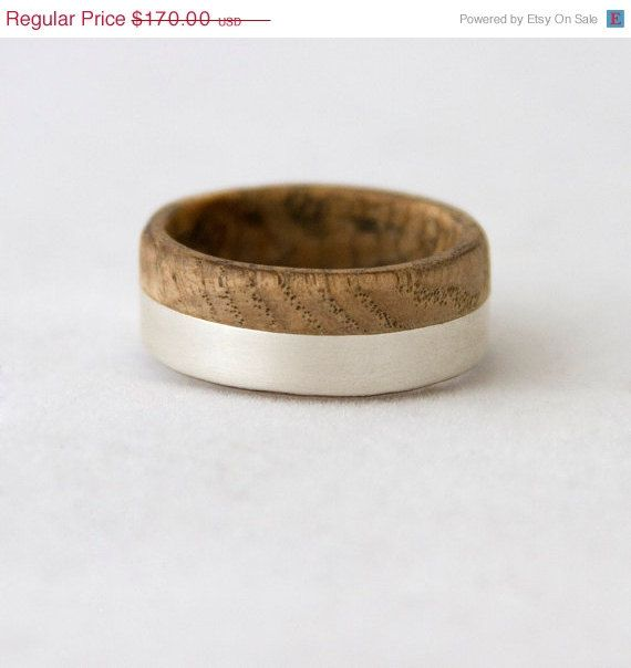 ON SALE 5 % OFF wood wedding band with silver line by aboutjewelry