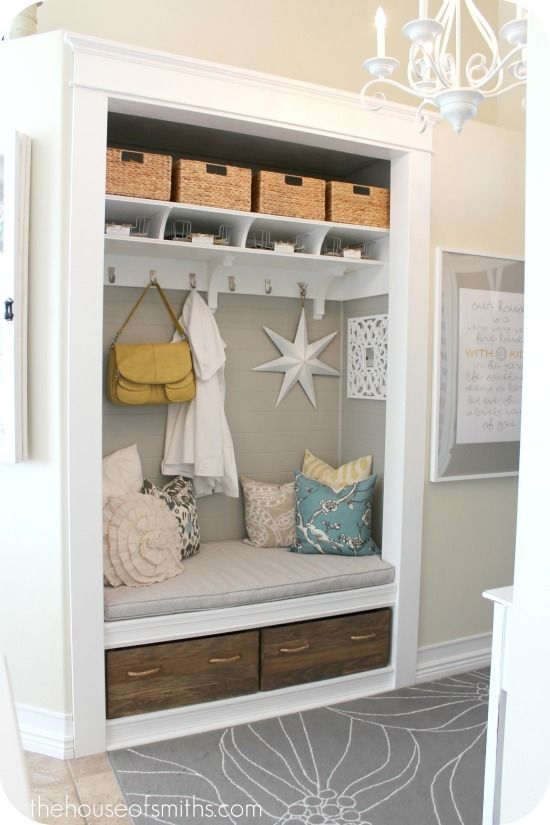 How to turn a cluttered entry closet into a mini mudroom with bench via @shelleysmith