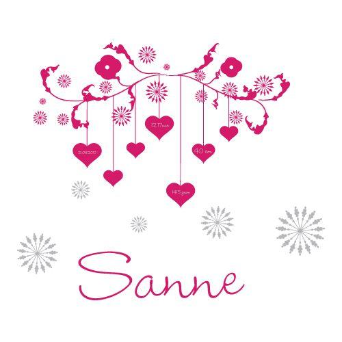 De geboortesticker van Sanne is uitgevoerd in twee kleuren: net even wat sprankelender.