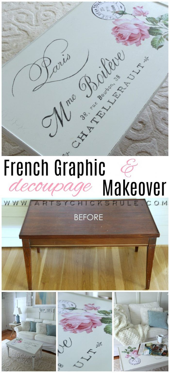 French Graphic & Decoupage Coffee Table Makeover artsychicksrule.com #frenchgraphic #decoupage #frenchcountry
