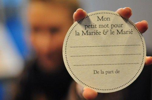 Sous-bocks en carton «Mon petit mot pour les mariés»