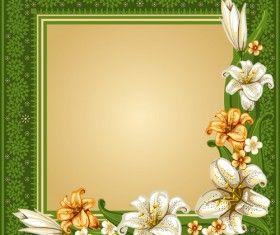 Piękny kwiat z retro ramki wektor materiału 04