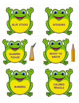 Printable, editable frog labels Storage bins, pencil cups, student name tags, etc.Uses Avery 15264 template