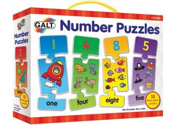 0 colourful 3 piece puzzles to develop early counting skills and number recognition. Each puzzle features a large number, the number number word and interesting items to count. Only the correct pieces will fit together.