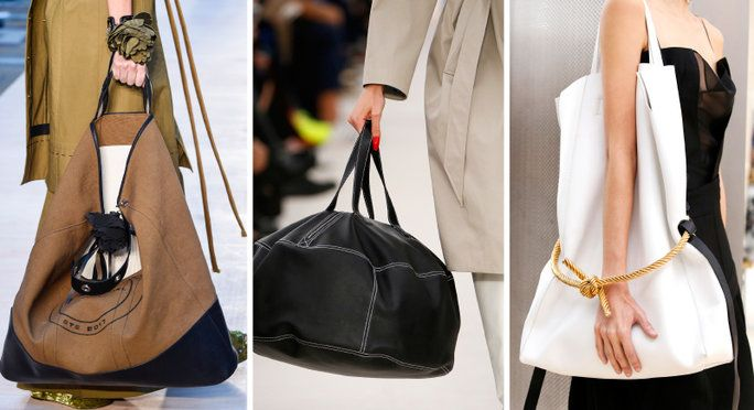 Top Spring 2017 Fashion Trends  XXXXL Bags  Supersized to an exaggerated degree, these babies will hold anything and everything.  Runway looks, from left: Sonia Rykiel, Balenciaga, Celine