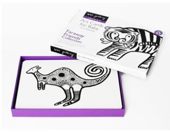 """Wee Gallery Art Card Designs. Printed on sturdy board, these cards will stand up to baby's explorations. Each 5x7"""" card is beautifully finished with matte lamination and child-friendly rounded corners. #finleeandme #artplay #toysforbabies"""