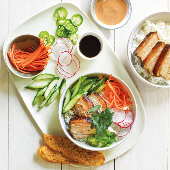 Rice noodles can replace the rice in this pork bahn mi bowl, a deconstructed version of the popular Vietnamese sandwich.