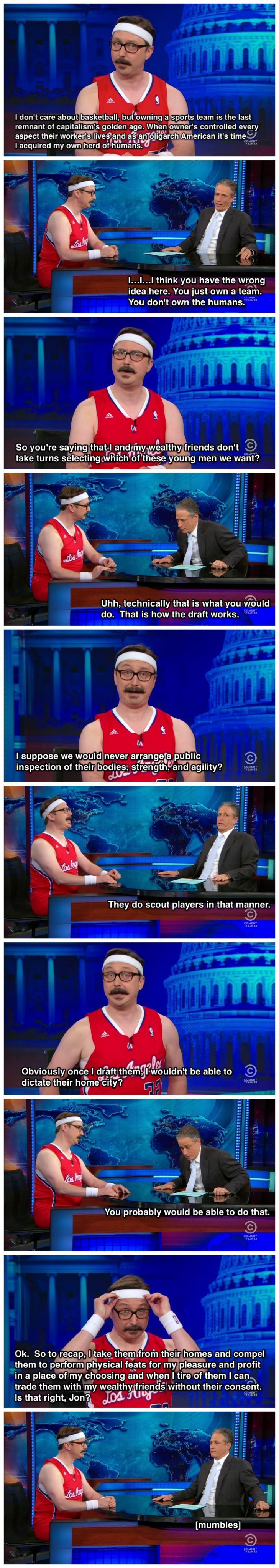 John Hodgman explains to Jon Stewart why he wants to buy the LA Clippers
