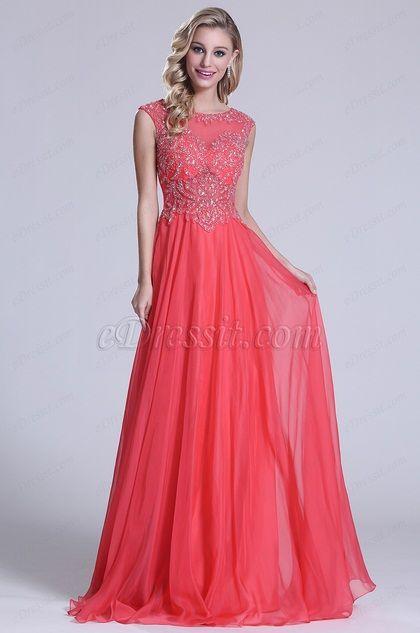 Ärmellos Perlen Oberteil Koralle Prom Kleid (C36150357)
