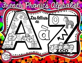 French Phonics Alphabet - Beginning Sounds - printable pages! Perfect for letter of the day, centers, anchor charts, playdough mats, cut & paste to create alphabet books, and more!  Les lettres de A à Z