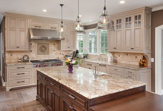 off white kitchen cabinets Kitchen Traditional with beige backsplash bell light: