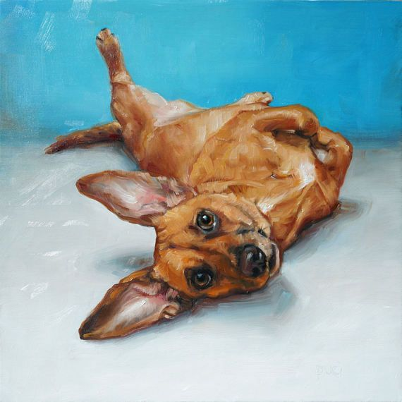 Dachshund Mix MILO strikes a 3 oclock pose as he represents this listing for the 10x10 CUSTOM pet portrait oil painting original.  Interested? Heres the scoop: ~ Start by emailing me photo(s) of your pet (high rez if possible) via Etsy or to my email address: puci@puciart.com ~ You