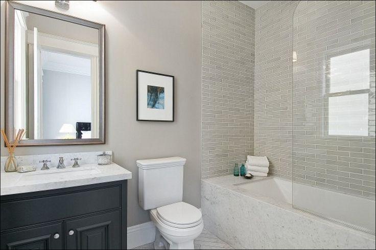 White Glass Subway Tile Bathroom