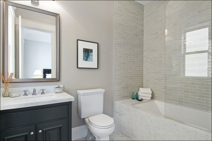 White Glass Subway Tile Bathroom
